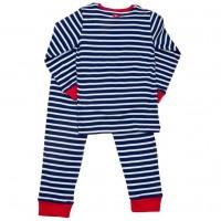 Vorschau: Leichter Bio Schlafanzug - dunkelblau geringelt