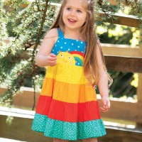Sommerkleid überkreuztes Rückenteil Regenbogen