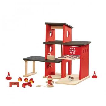 Feuerwache Spielzeug Set aus Holz ab 3 Jahre