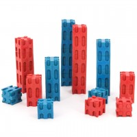 Steckwürfel aus RE-Wood® 30teilig rot-blau ab 4 Jahre