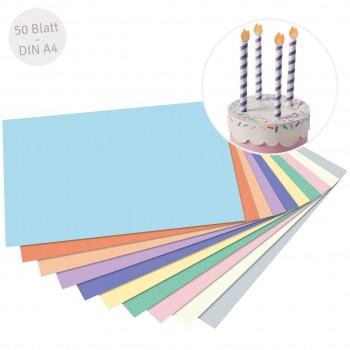 Recycelter Fotokarton pastell DIN A4 50 Blatt
