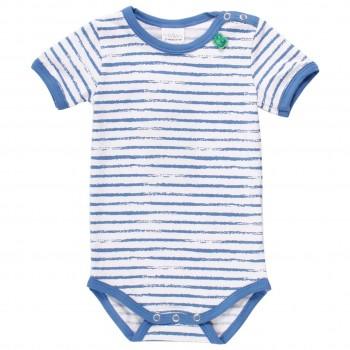 Sommerlicher Body kurzarm Streifen blau