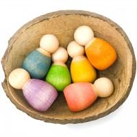 Baby nins® - 6 Holzfiguren ab 3 Jahren inkl. Kokosschale