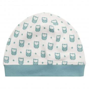 Blaue Babymütze Eulen