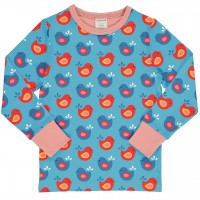 Vogel Shirt langarm blau-rosa