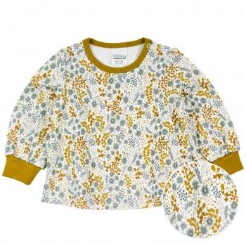 Dünnes Sweatshirt mit Blumen creme