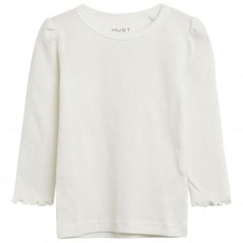 Warmes dehnbares Langarmshirt in weiß
