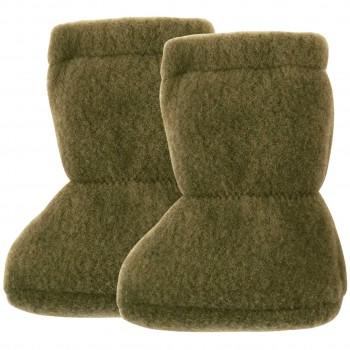 Wolle Babyschuhe als Socke in moos-grün