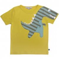 Edles T-Shirt Dino Aufnäher in gelb