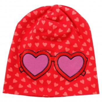 Herzchen-Aufnäher Beanie in rot
