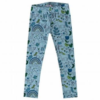 Comic-Druck Leggings elastisch blau