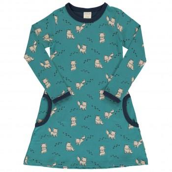 Kleid mit Taschen langarm elastisch mit Polarfüchsen