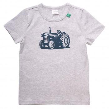 Shirt kurzarm Traktor-Druck hellgrau