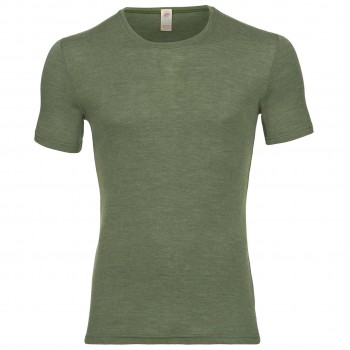Wolle Seide Herren kurzarm Shirt oliv-grün