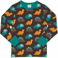 Dinosaurier Shirt langarm Bündchen in dunkelbraun