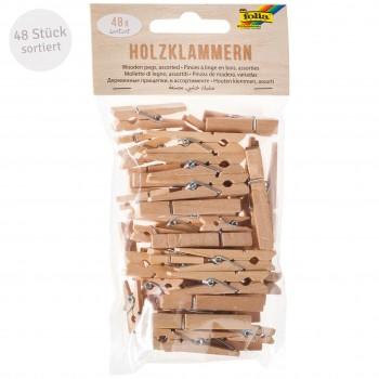 Holz Wäscheklammern 48 Stück in 3 Größen