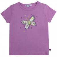 Shirt kurzarm Schmetterling-Aufnäher lavendel