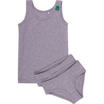 Set Girl 1 Unterhemd 2 Slips grau
