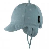 Sommermütze Ohrenschutz Musselin in blau