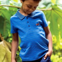 Polo Shirt Streifen blau