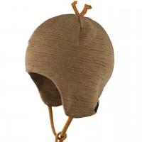 Erstlingsmütze Wolle Seide Doppellagig ocker