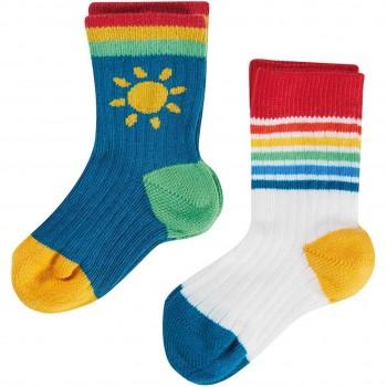 Baby Socken 2 Paar Regenbogen blau weiß