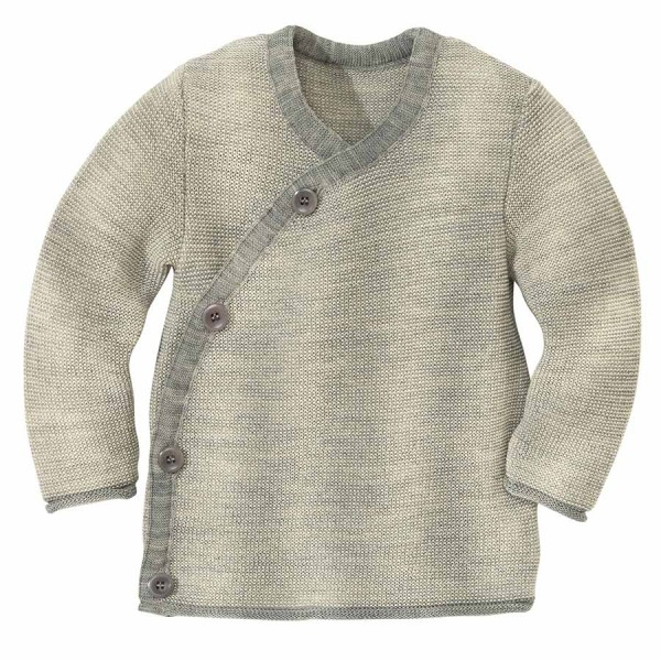 Baby Wickel-Pullover Wolle grau