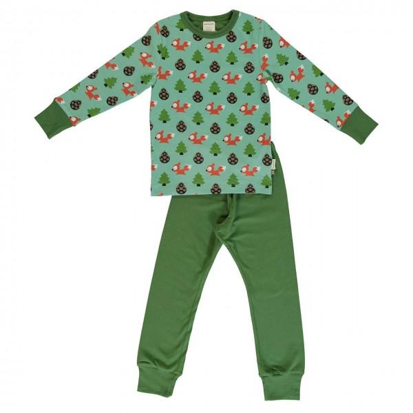 Eichhörnchen Schlafanzug langarm in grün