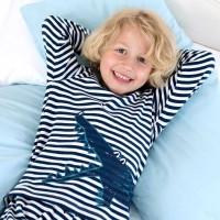 Schlafanzug leicht in langarm blau Krokodil
