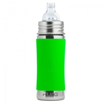 Pura kiki Edelstahl Trinklernflasche ab 6 M - open end grün
