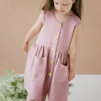 Sommerkleid Musselin ohne Arm rosa