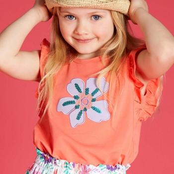 Sommer Shirt ohne Arm Blume mit Pailletten