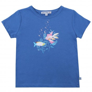 Blaues Shirt kurzarm Fisch-Druck