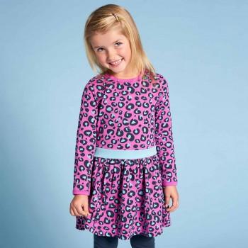 Langarm Flatterkleid Leoparden-Muster pink