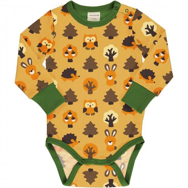 Wald Tiere Body langarm breite Bündchen gelb