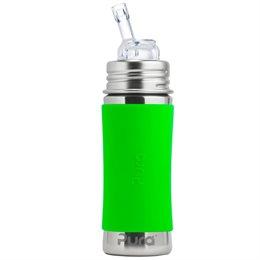 Edelstahl Flasche mit Trinkhalm ab 12 M - open end grün