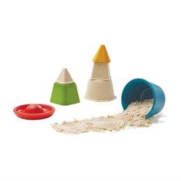 Kreatives Sand und Wasser Spielzeug aus Holz 4 Förmchen ab 2 Jahre