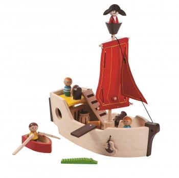 Piratenschiff mit Mannschaft und Zubehör