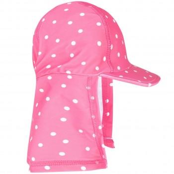 Bademütze Nackenschutz Punkte pink