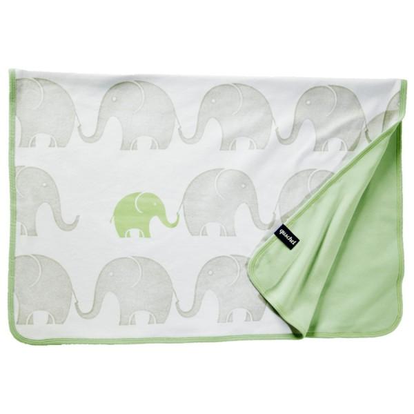Bio Babydecke Elefanten-Familie pastellgrün