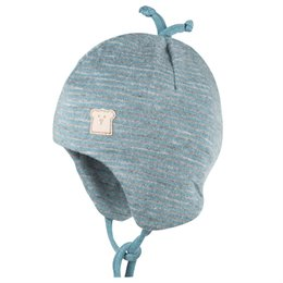 Wolle Seide Babymütze doppellagig atmungsaktiv blau grau