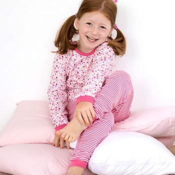 Schlafanzug leicht in langarm rosa Hühner