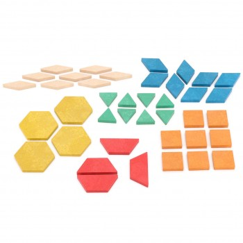Geometrische Legeplättchen farbig sortiert 40 Teile