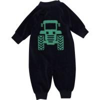 Vorschau: Warmer Velours Babystrampler mit Traktor und Reißverschluss