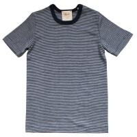 Wolle Seide T-Shirt marine gestreift