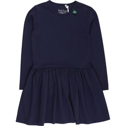 Bio Mädchenkleid langer Arm navy