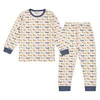 Ganzjahres Schlafanzug Hund Druck blau