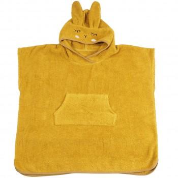 Kinder Badeponcho mit Kapuze gelb 1-4 J