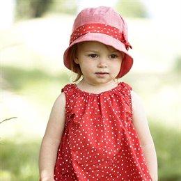 Fischerhut Mädchen rot Leinenoptik