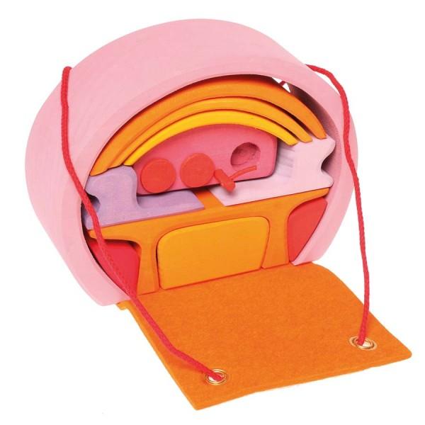 Bauhaus mit Tragetasche pink orange